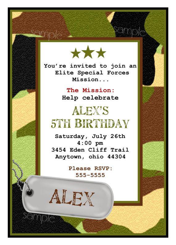 army camouflage invitations | camouflage birthday party, combat, Birthday invitations