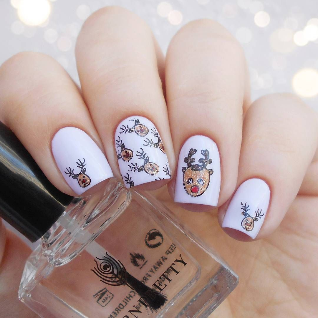 Cute deer #nailstamping shared from @maryrose_nails, simple to ...