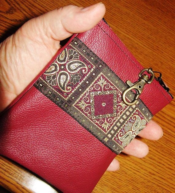 Burgundy LEATHER Wallet w/Embroidered by ScentedSoftandSewn