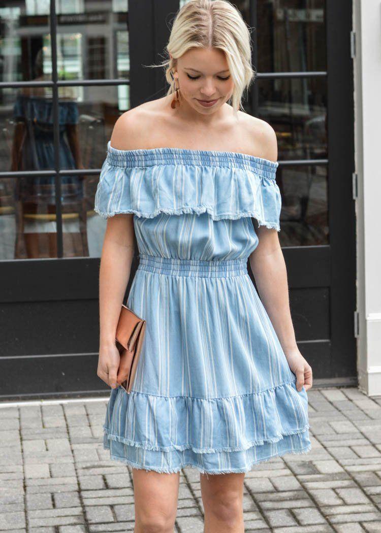 d57d236ef3 BB Dakota Coco Striped Chambray Dress