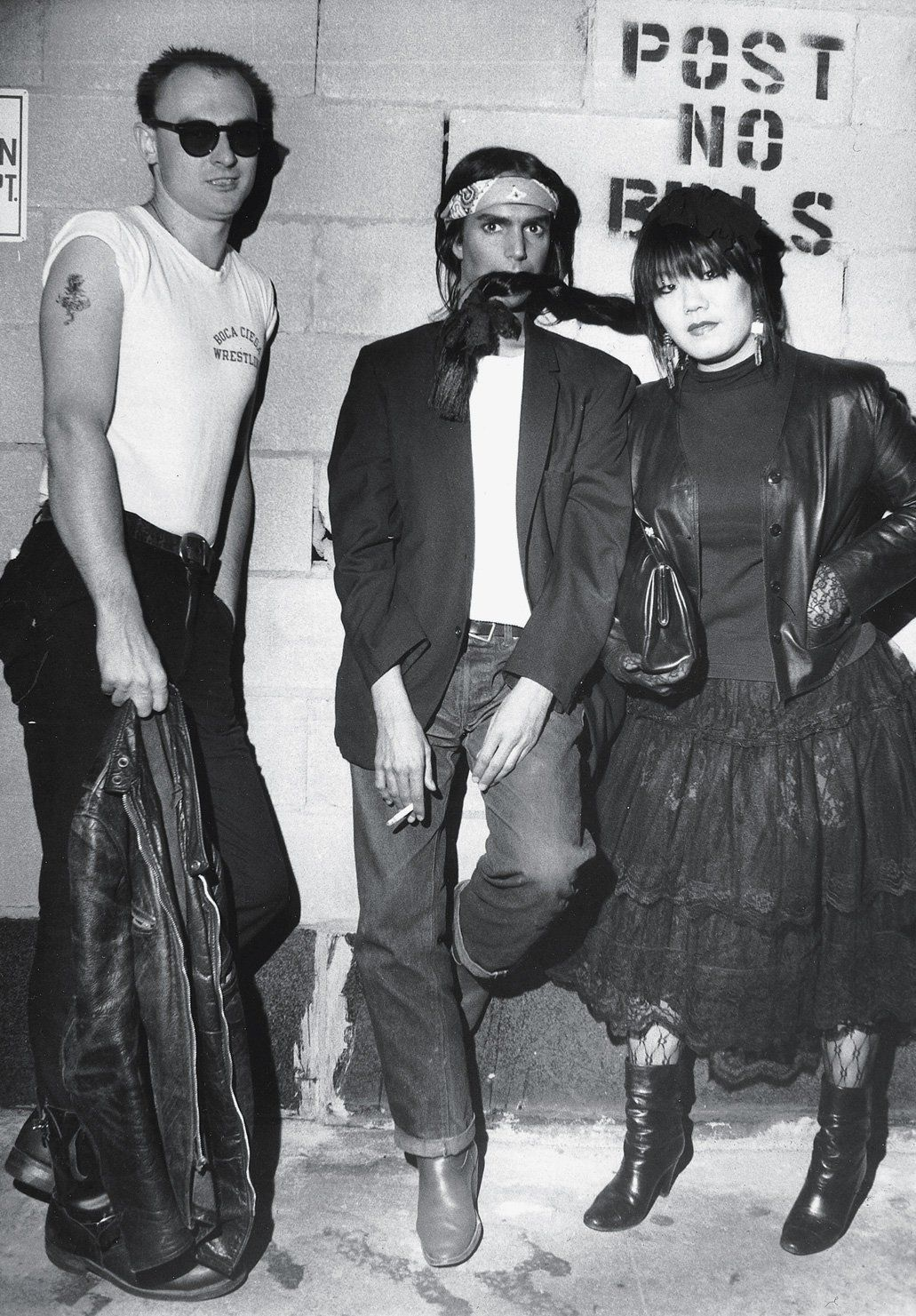 """Bill Cunningham took this picture of me [Anna Sui], Gordon Stevenson and  Steven Meisel (center) in the mid-'80s outside of the club CBGBs."