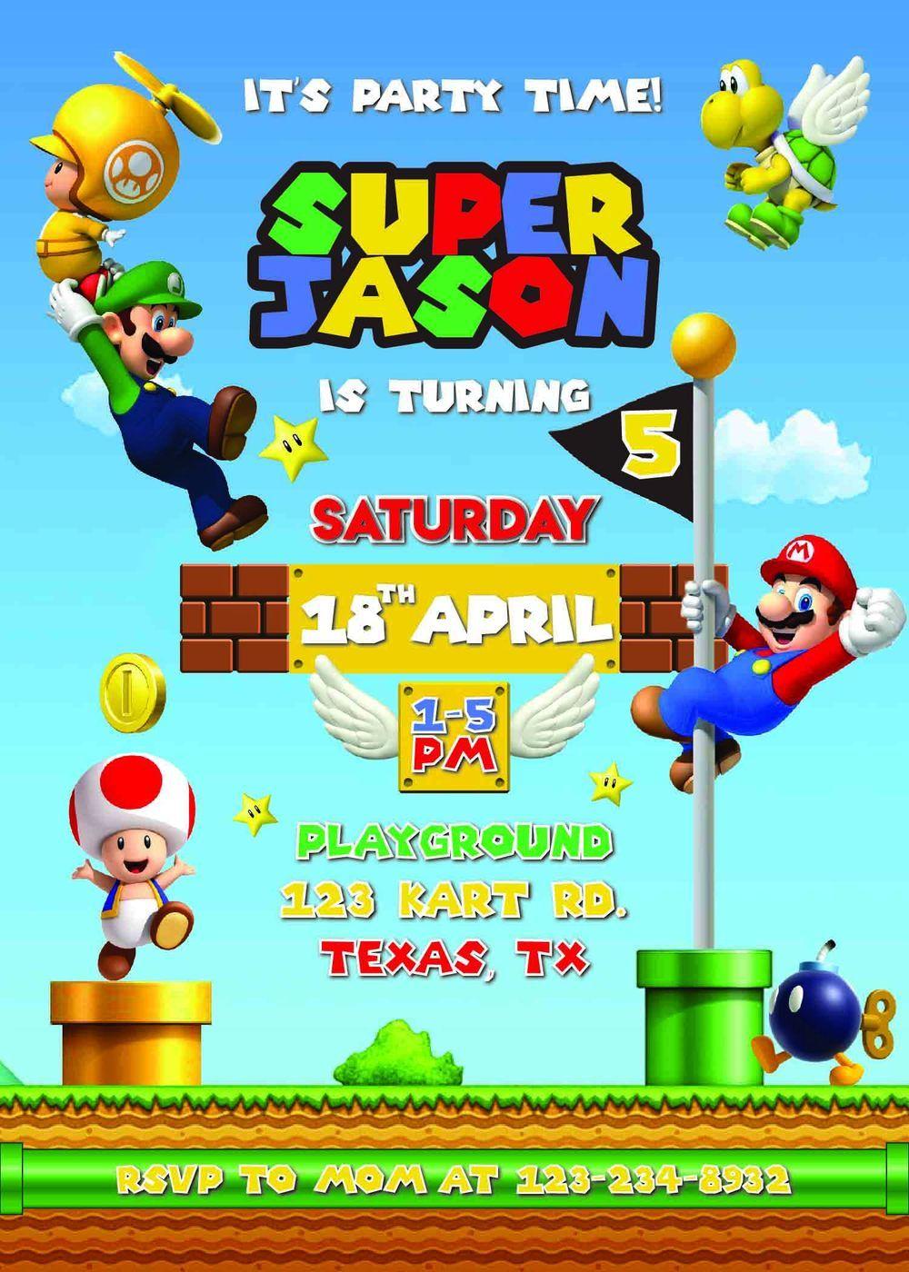 Super Mario Birthday Party Invitation Mario birthday