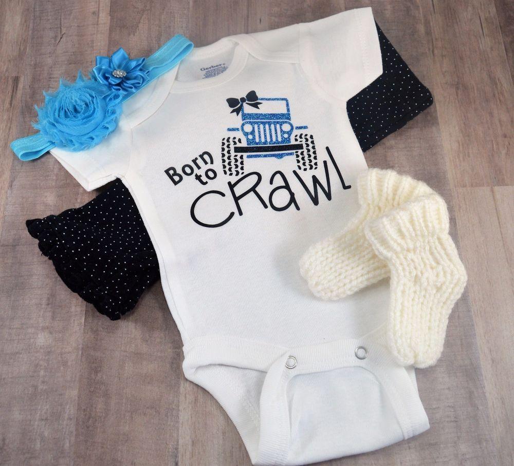Born To Crawl Jeep Baby Bodysuit Toddler T Shirt Tee Birthday