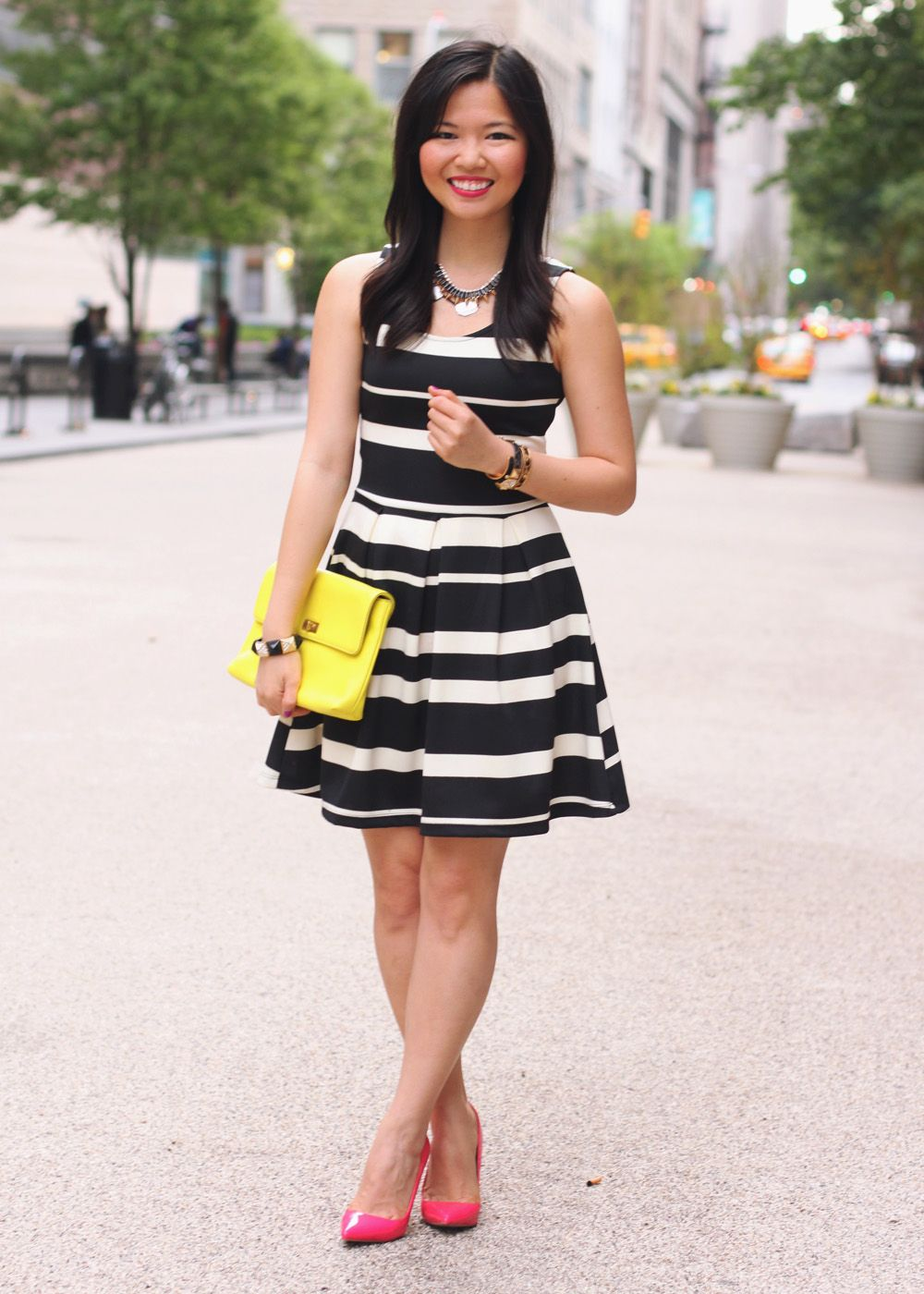 black white dress with yellow shoes