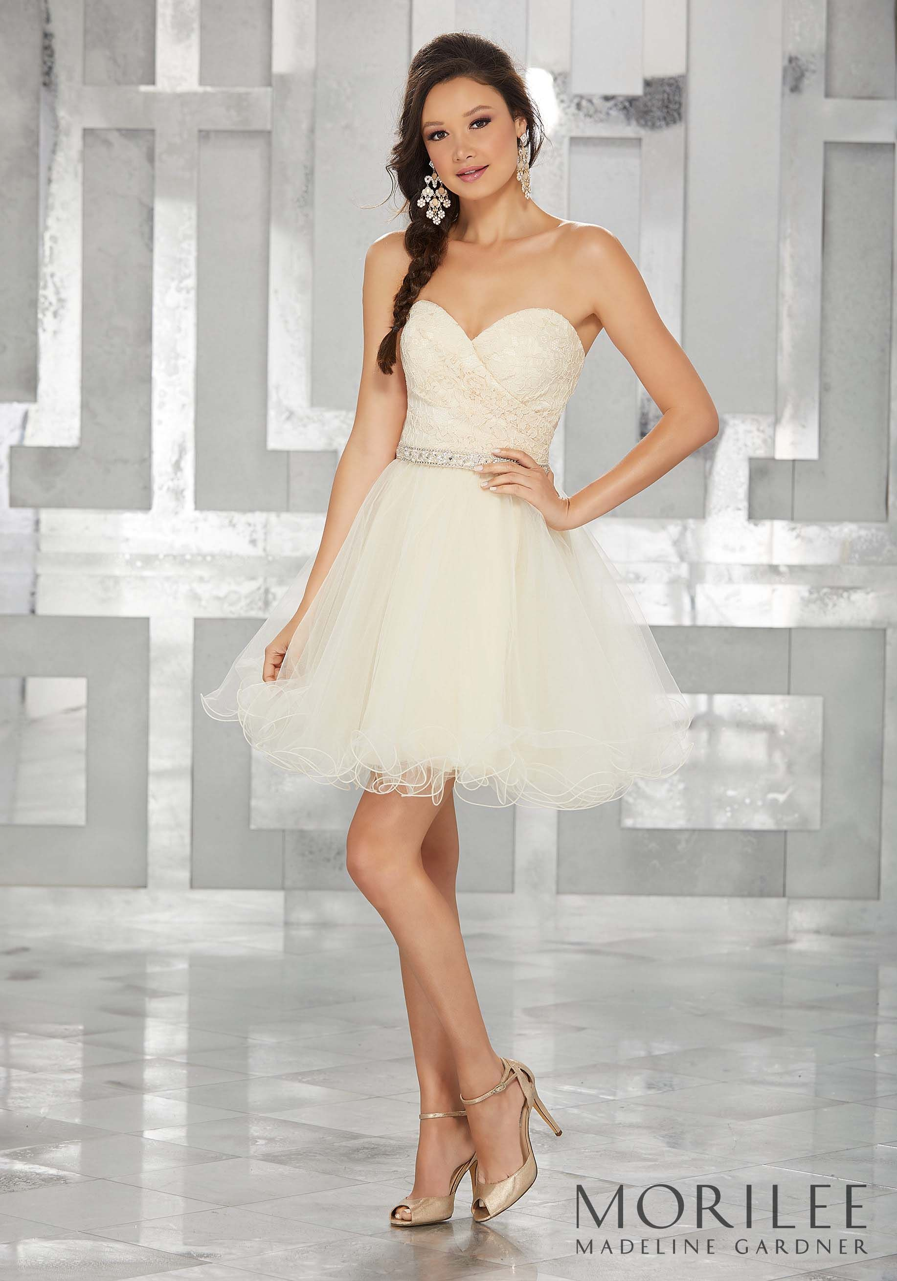 cfafa15f226 Lace and Tulle Party Dress with Beaded Waistline Trim