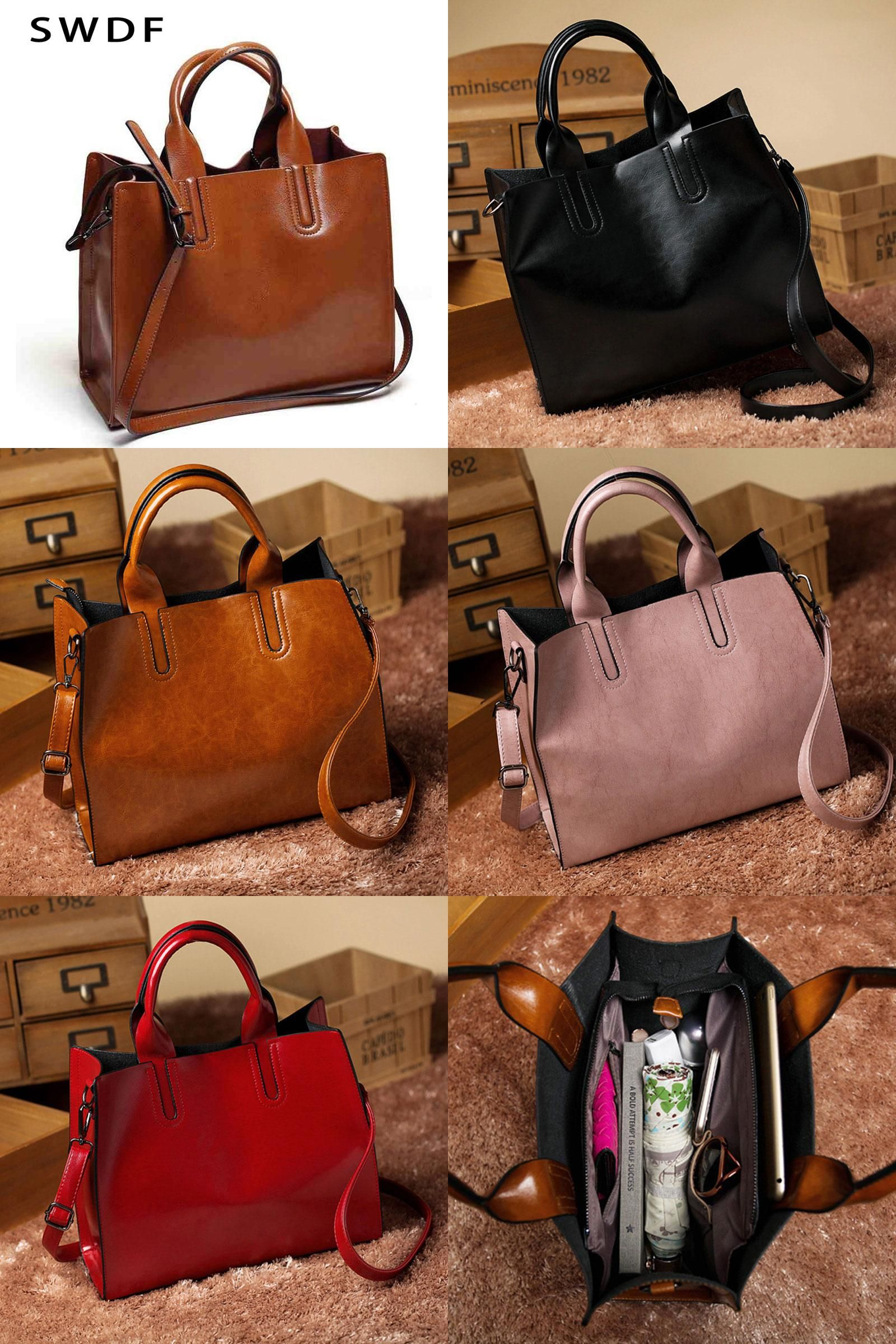 7e2fdcb1a9  Visit to Buy  Women Leather Bags Handbags Women Famous Brands Big Casual  Women Bags