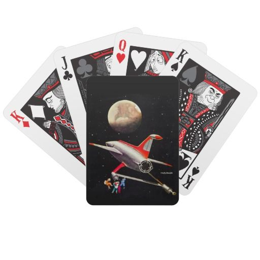 Science Fiction Galaxy Spaceship Astronauts Mars Bicycle Playing Cards #vintage #scifi #spaceship #space #iconographique