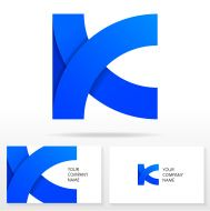 Letter K Logo Icon Design  Vector Sign Business Card Templates