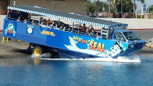 San Diego Seal Tour The Hydra Terra Amphibious Vehicle Entering The Water From The Shore In San Diego Explore San Diego San Diego Bay Shore Excursions