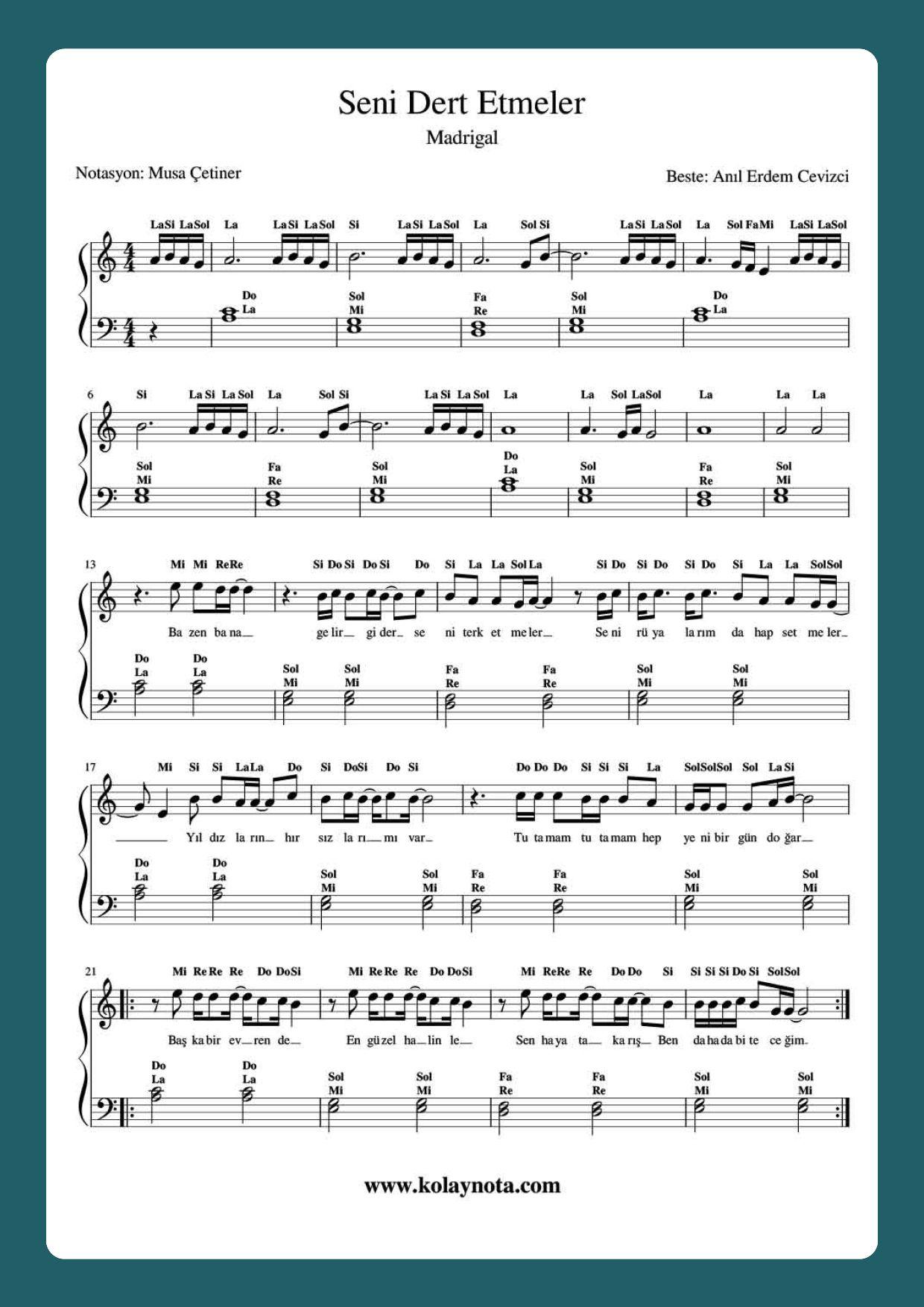 Seni Dert Etmeler Piyano Notalara Dokulmus Muzik Piyano Muzik Notalari