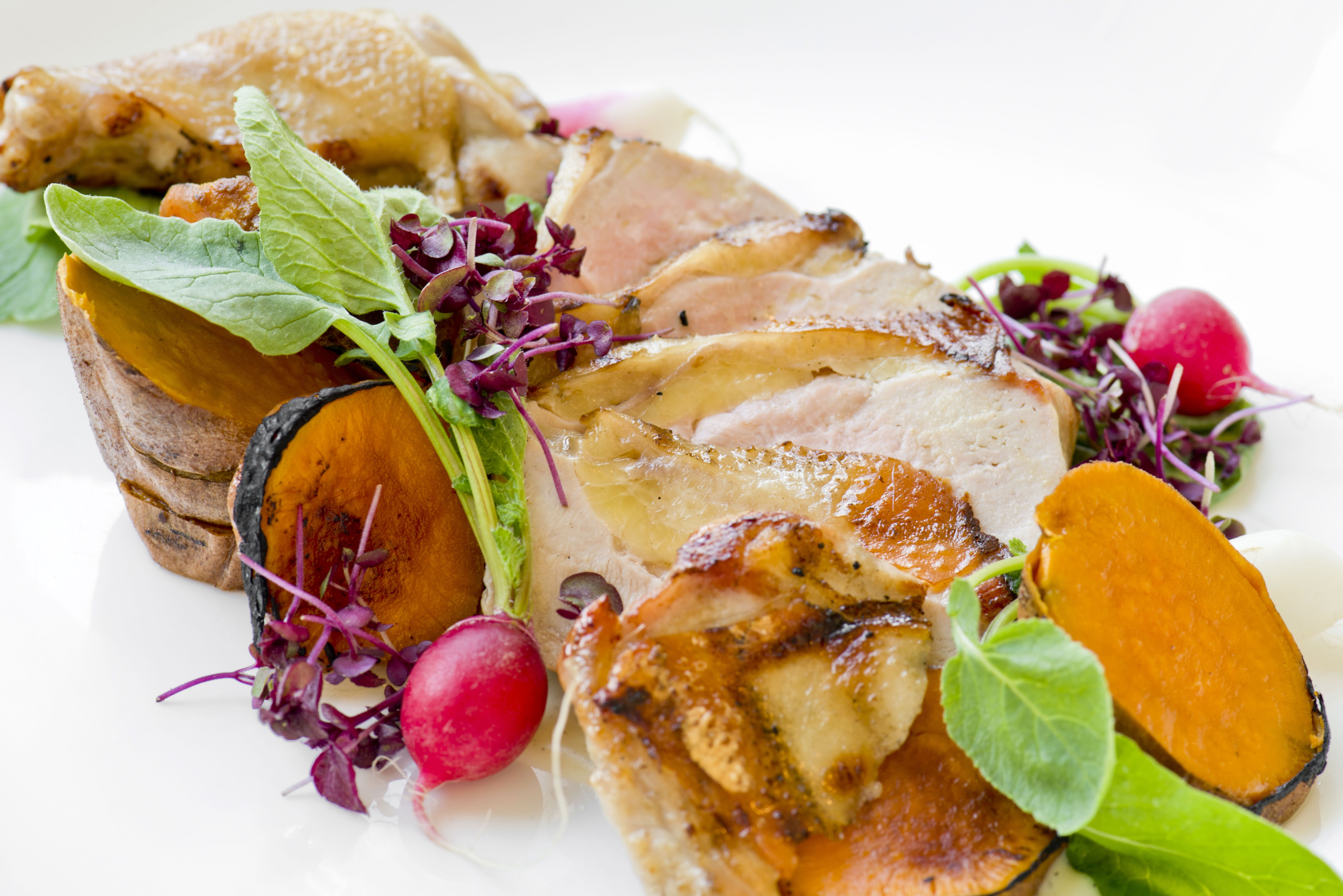 Pheasant- Traditional flavors of radish & butter, roasted local sweet potato