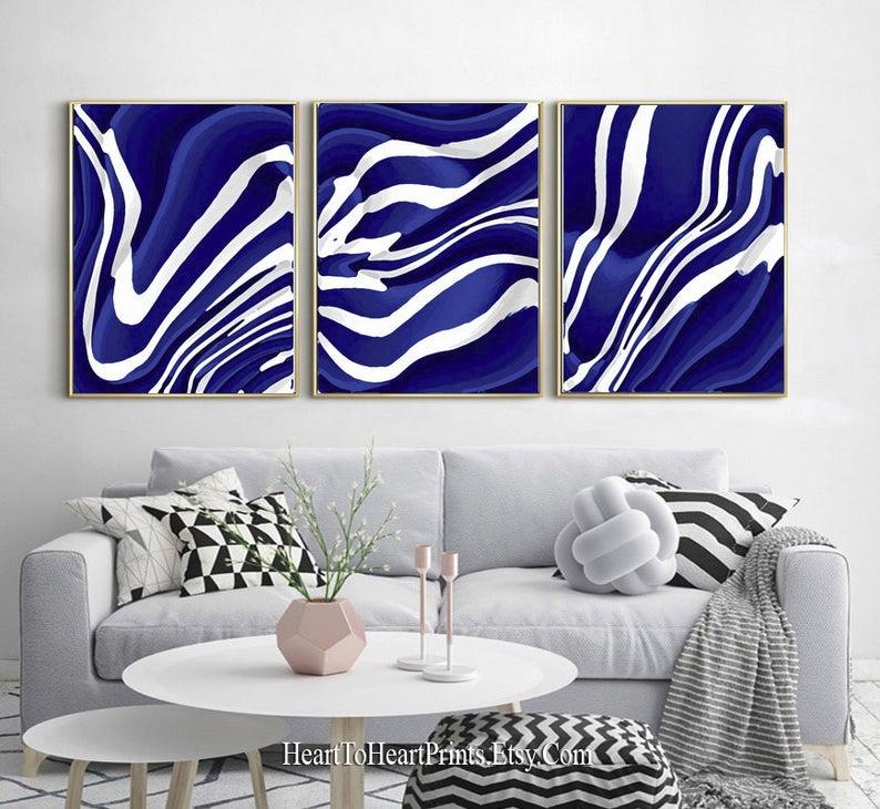 Set Of 3 Navy Blue White Wall Art Digital Painting Instant Etsy In 2020 White Wall Art Blue Wall Decor Blue Wall Art