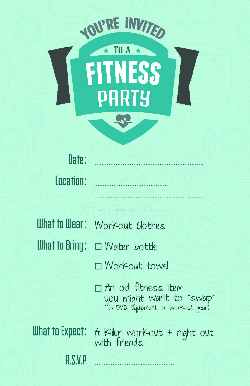 Fitness Party Invite Inspo Parties Pinterest