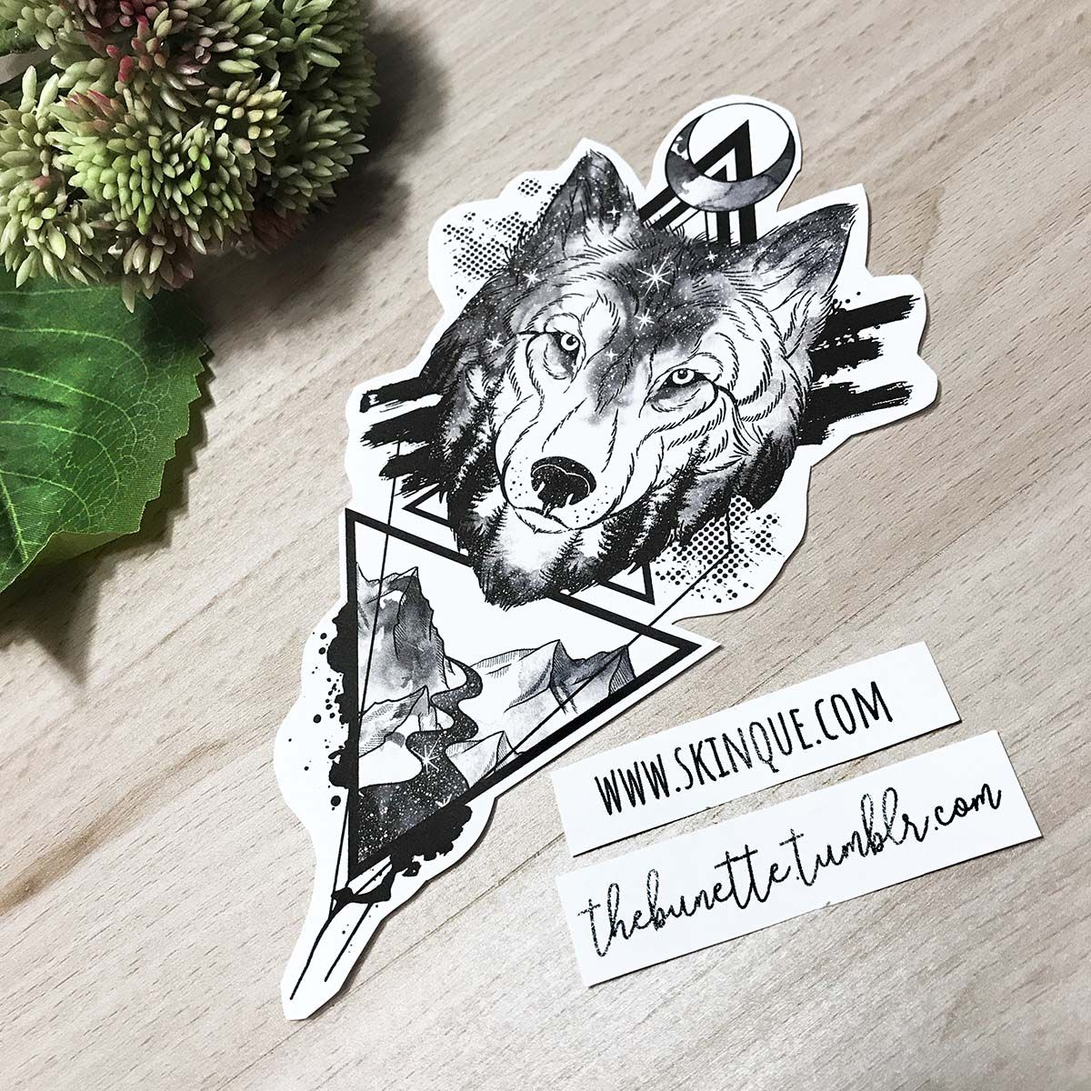 Watercolor Trash Polka Wolf Forest Mountain Moon Abstract Tattoo Geometric Illustration Abstract Tattoo Wolf And Moon Tattoo Geometric Wolf