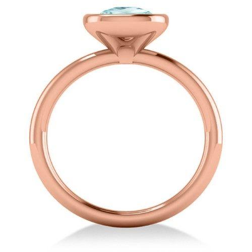 Cushion Cut Aquamarine Fashion Ring 14k Rose Gold (1.90ct), Women's, Size: 10.75