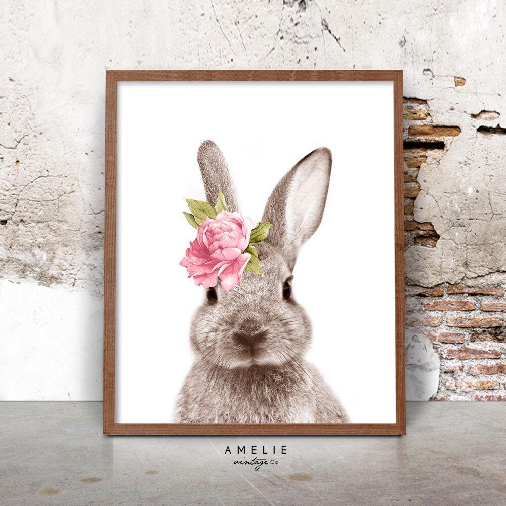 Bunny Rabbit Print, Nursery Printable Wall Art, Woodland ...