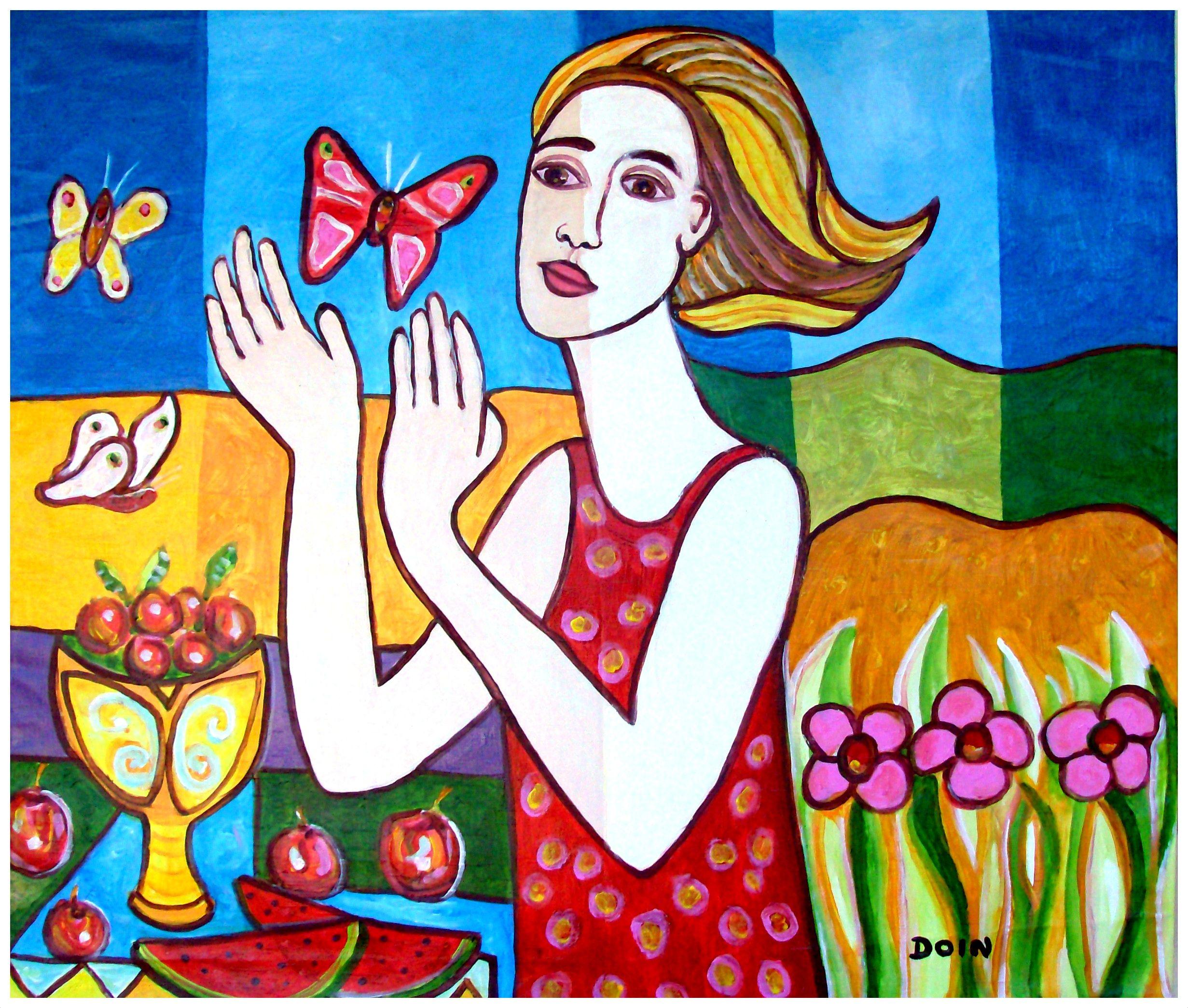 o.s.t. - 100 cm x 80 cm - a menina e as borboletas