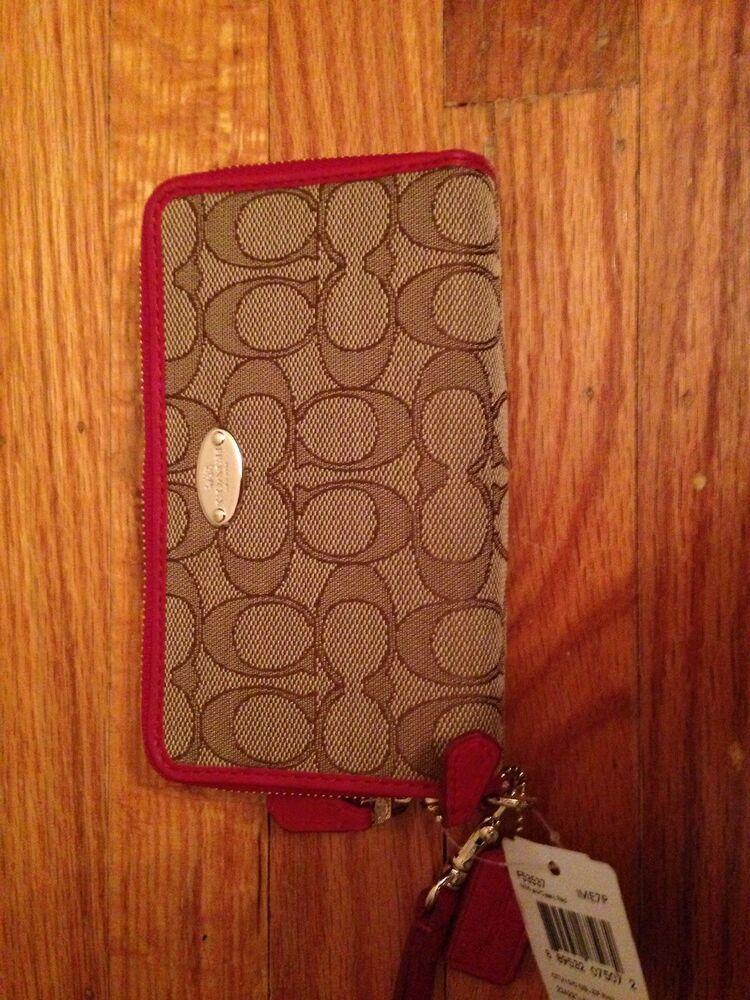 Coach signature double zip wallet f53537 khaki red