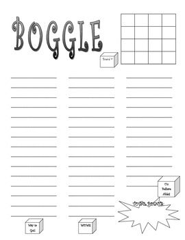 BOGGLE Game Handout. FREE and great PowerPoint available