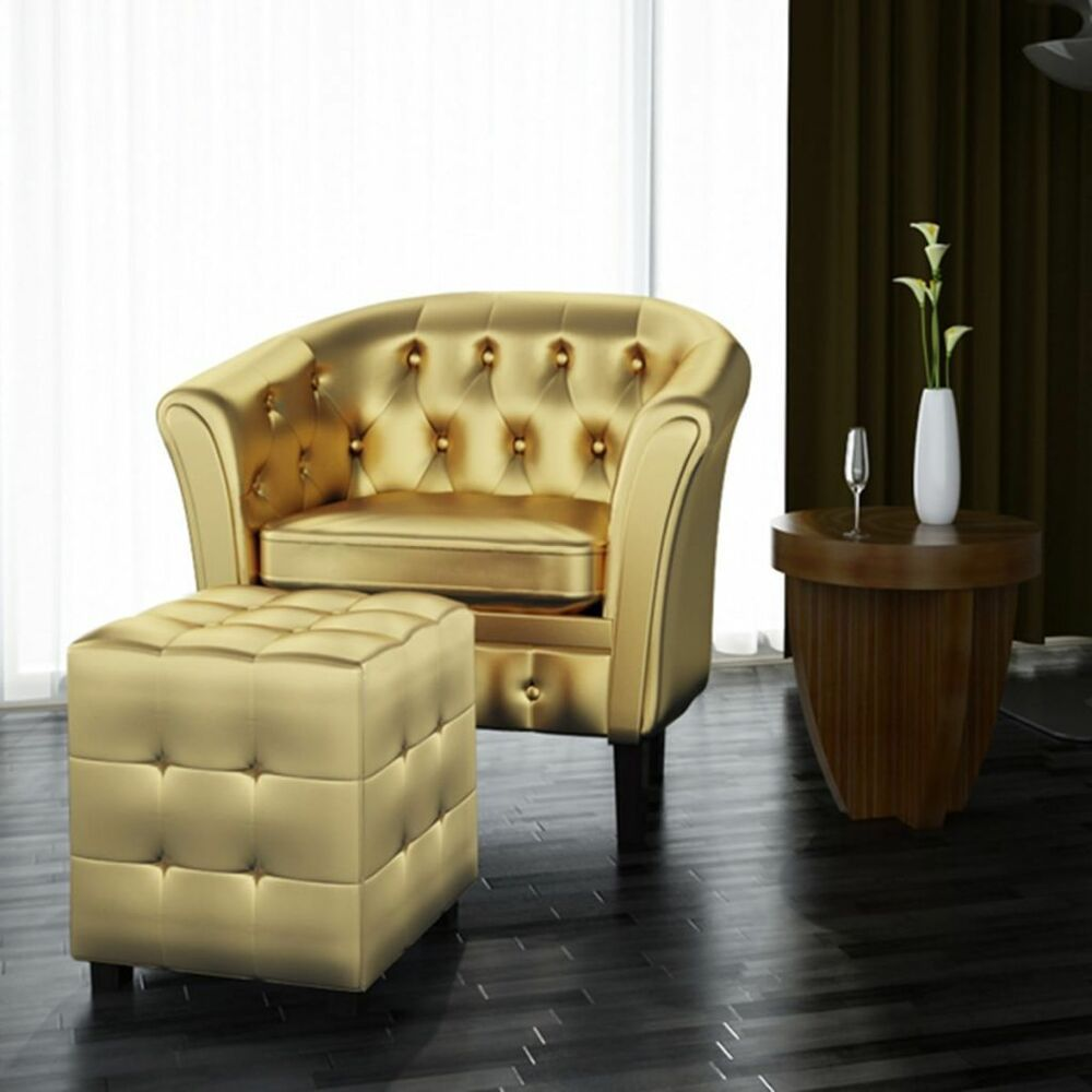 Modern Faux Leather Armchairs Footrest Stool Sets Lounge Chair Furniture Gold Accent Furniture Living Room Leather Tub Chairs Living Room Upholstery