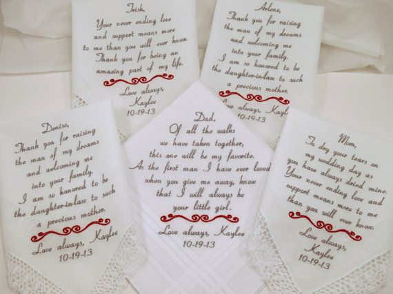 Wedding Handkerchiefs For The Family: Set Of 5 Embroidered Wedding Handkerchiefs By