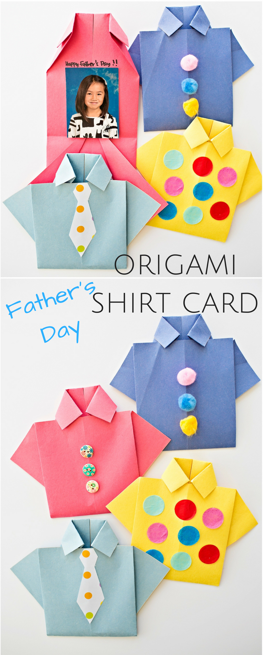 39b10656 @rabbitgooing Easy Origami Father's Day Shirt Card. Kids can decorate this  cute card for dad and add a special photo and message inside!