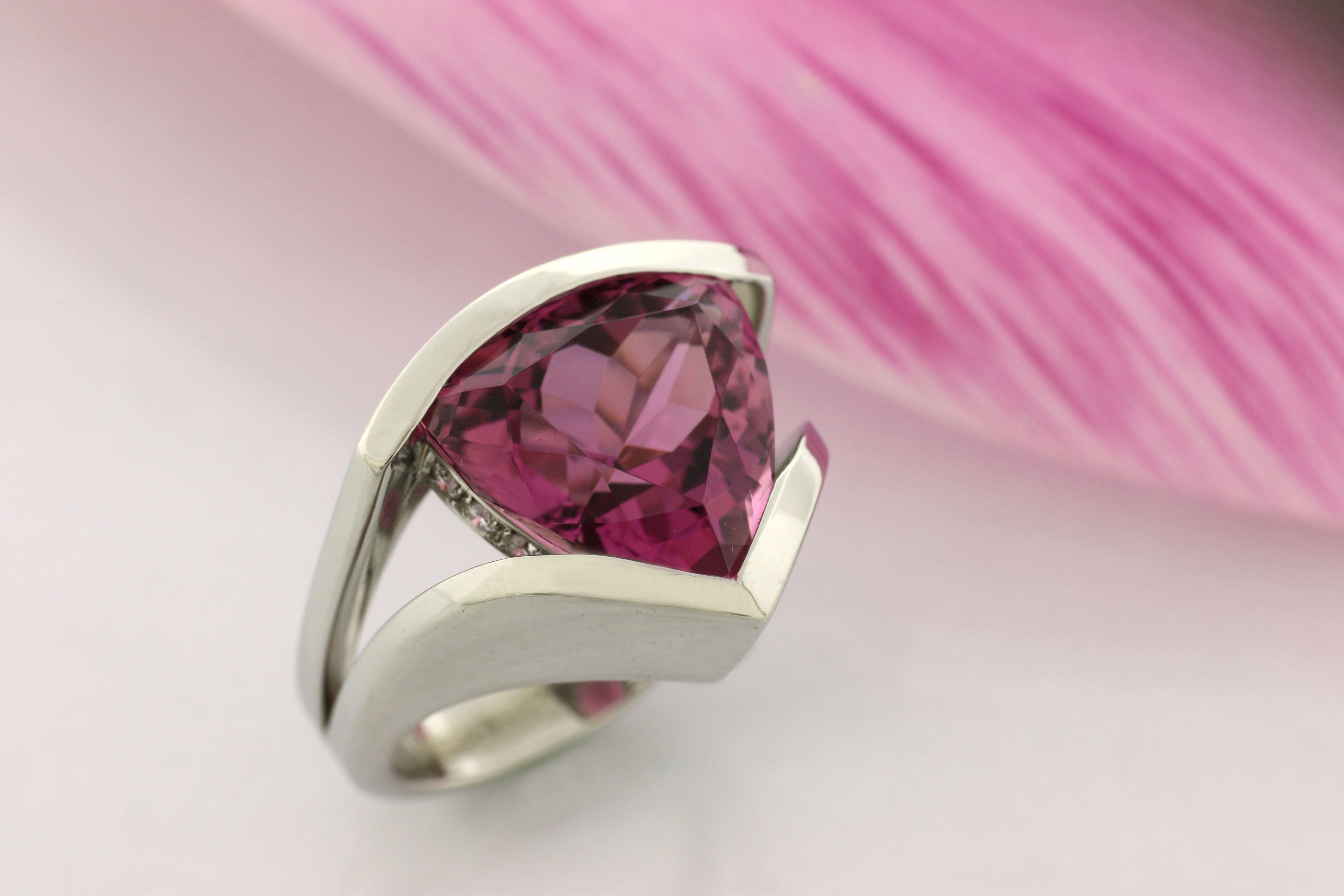 Pink Tourmaline Trillion Cut #gemstone #rings #jewelry www ...