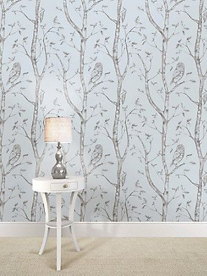Nuwallpaper Blue Woods Peel And Stick Wallpaper The Home Depot Canada Birch Tree Wallpaper Wood Wallpaper Nuwallpaper