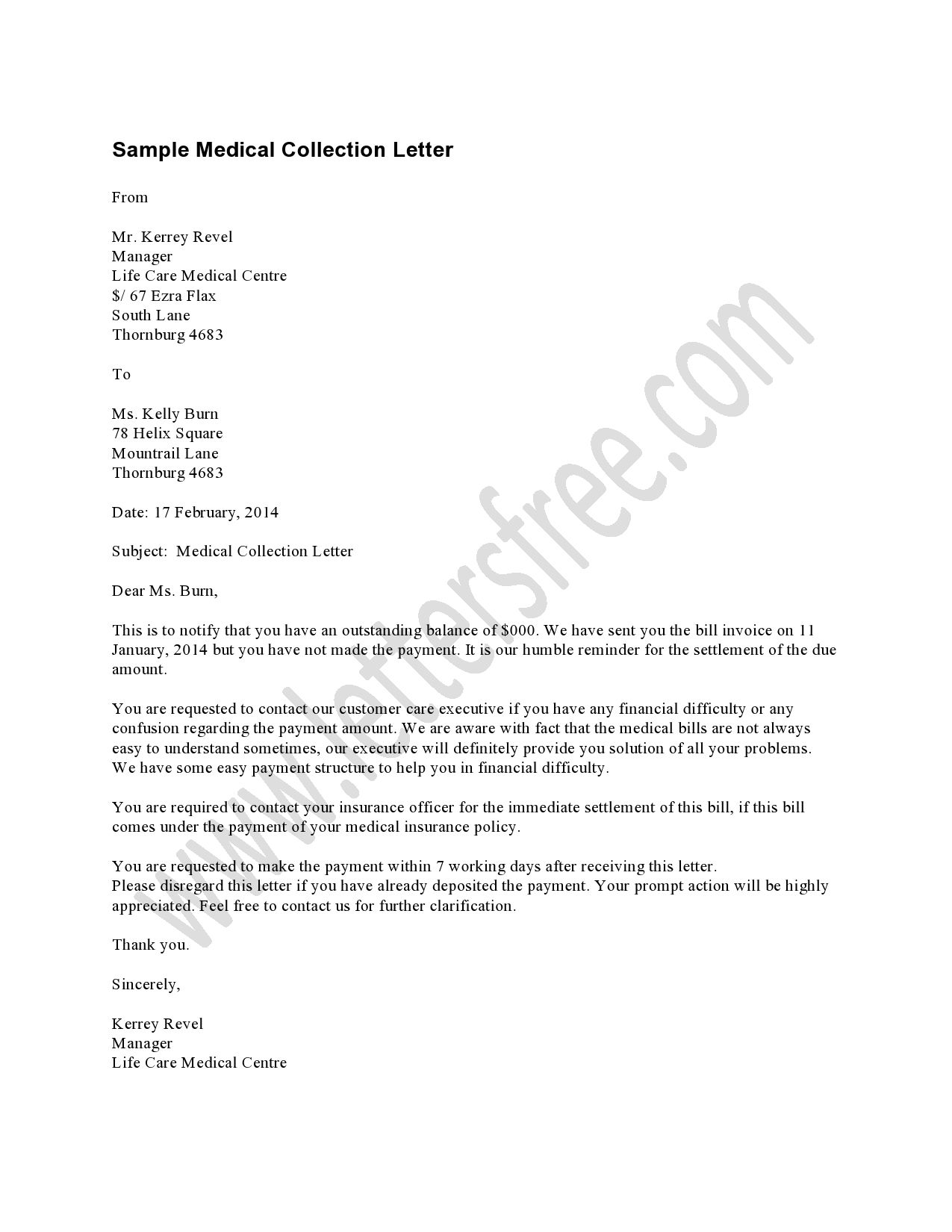 Medical Collection Letter Example Should Be Used As A First