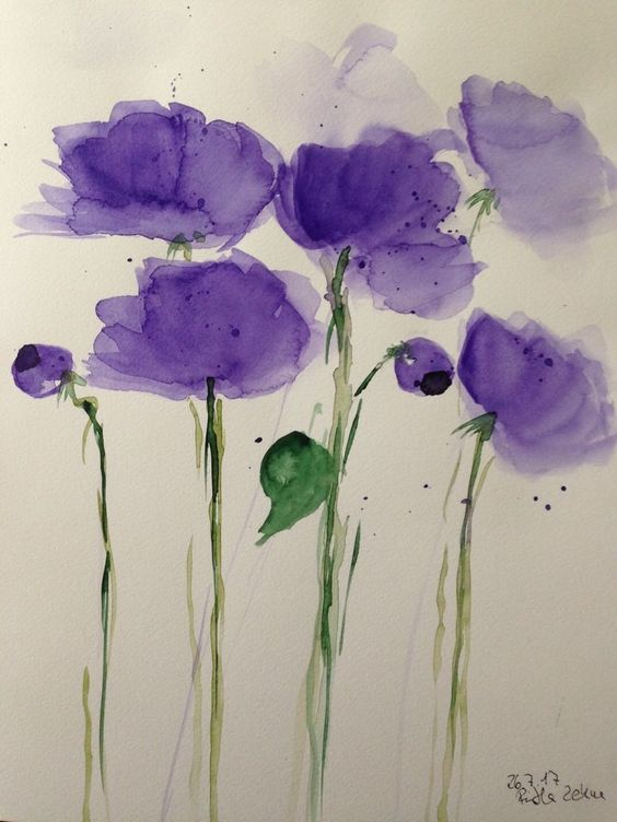 Aquarell Blumen Flowers watercolour  flowers simplified