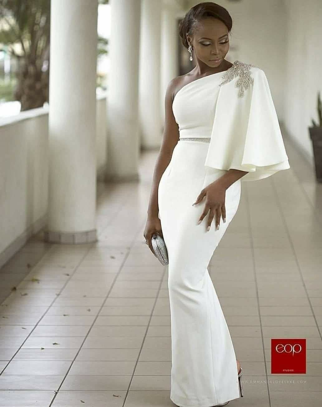 Hot ankara aso ebi styles white maxi shoulder and african fashion