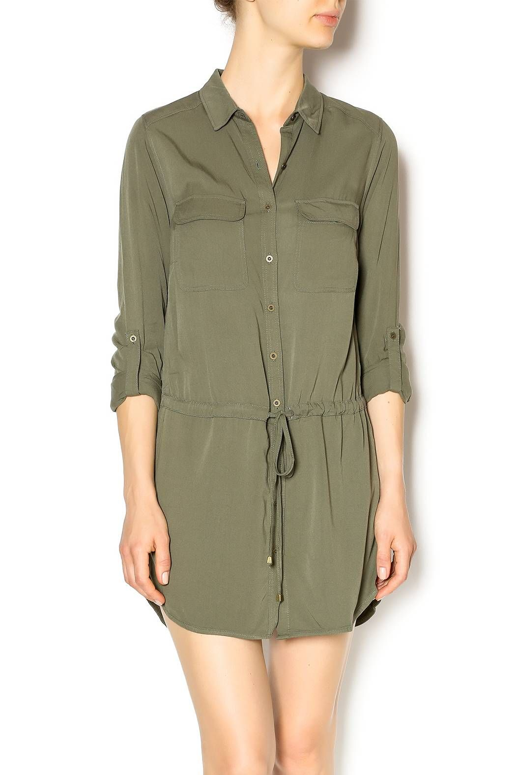 Staccato olive military dress military dresses drawstring waist