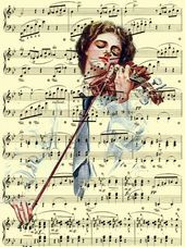 Song of the Soul Music Art Harrison Fisher Illustration on Antique Chopin Music