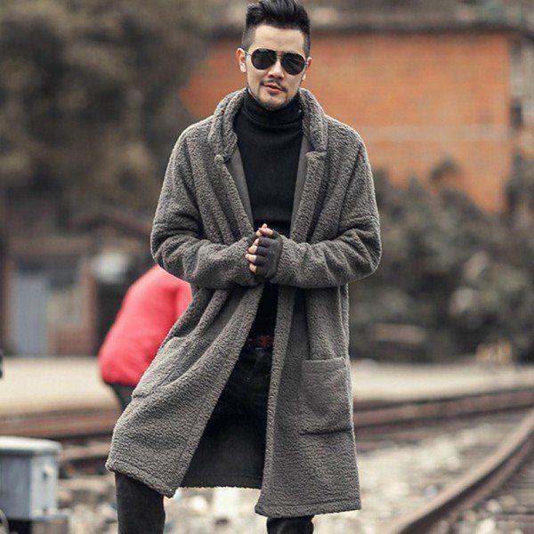 719f22e024 Man new design winter long furry coat warm plush cardigan men slim fashion  European style black cotton cardigan