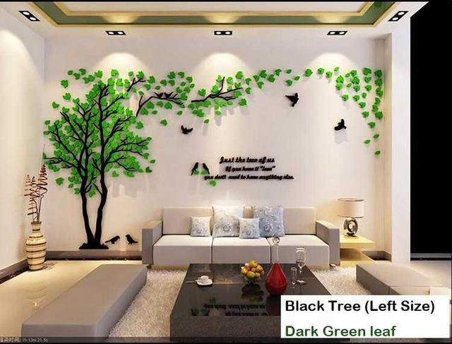 Leaves Birds Crystal Three-Dimensional Tree Wall Stickers