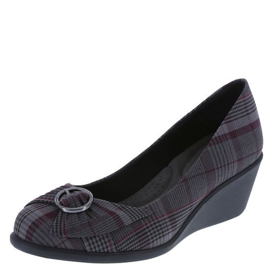 Women's Eleanor WedgeWomen's Eleanor Wedge, Grey/Purple Plaid
