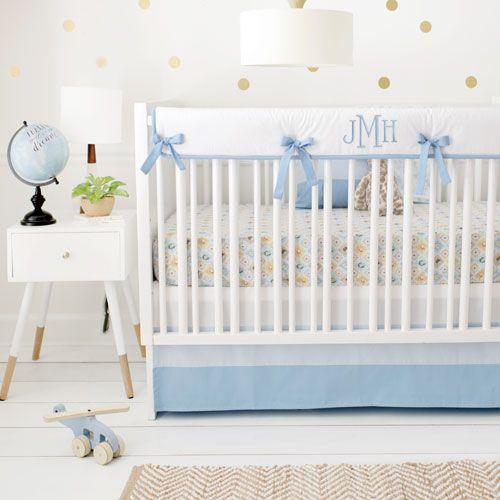 Blue Woodland Nursery Bedding Set Born Wild In
