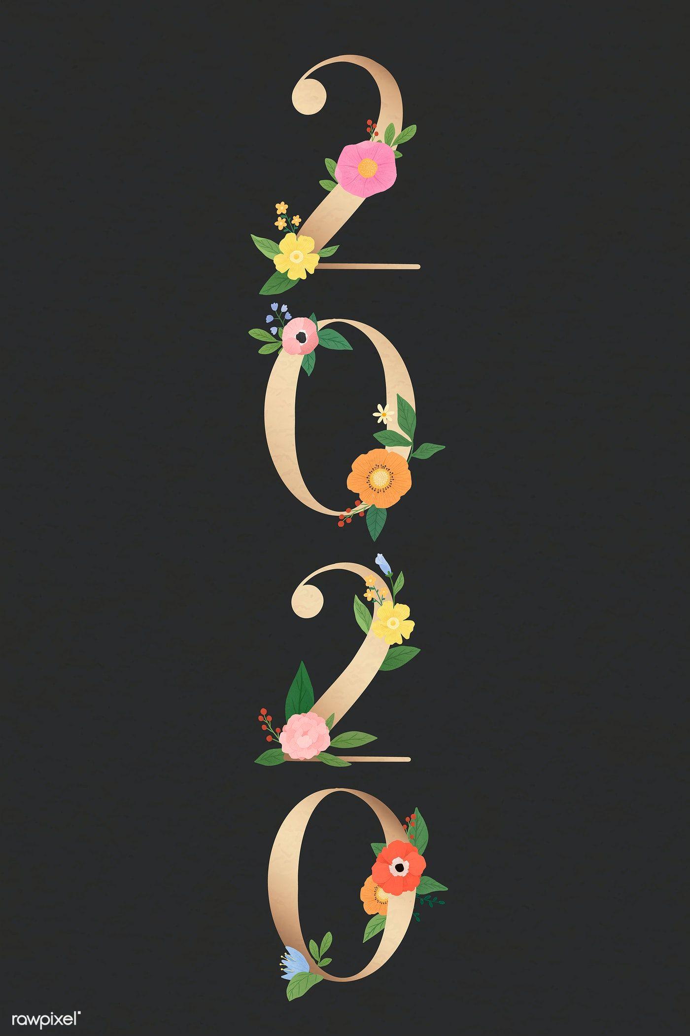 Download premium illustration of Year of 2020 botanical vector 1015266