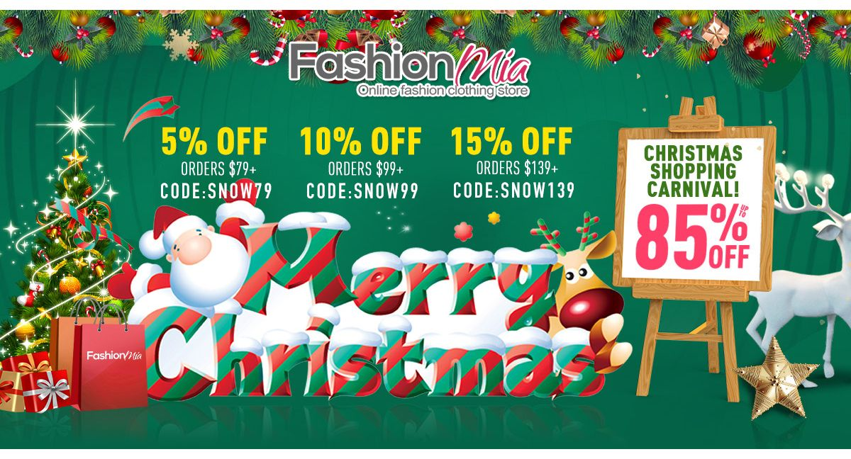 Christmas Cd Promo 2021 Fashionmia Christmas Shopping Carnival Up To 85 Off Get 5 Off 79 10 Off 99 15 Off 139 Fashion O Coupon Codes Fashion Clothing Store Coding