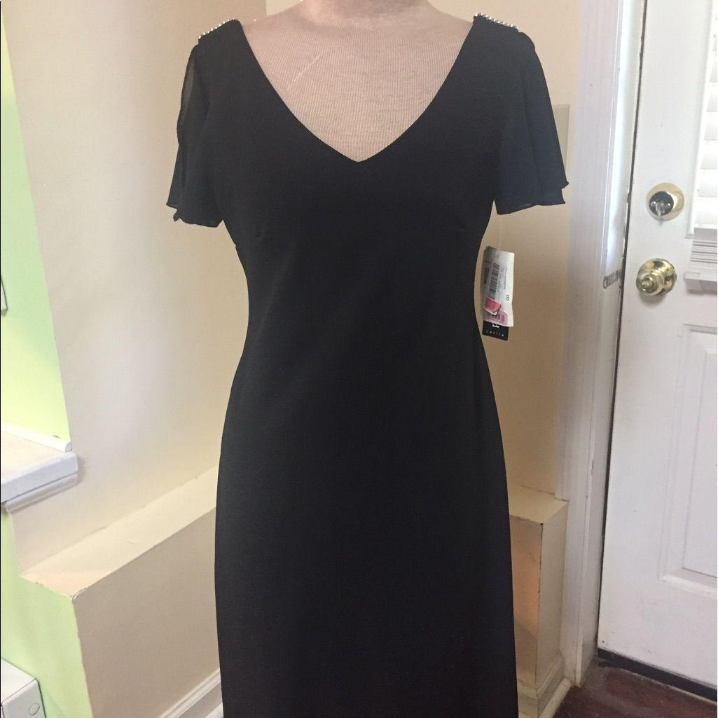 Black chiffon vneck dress with rhinestones nwt products
