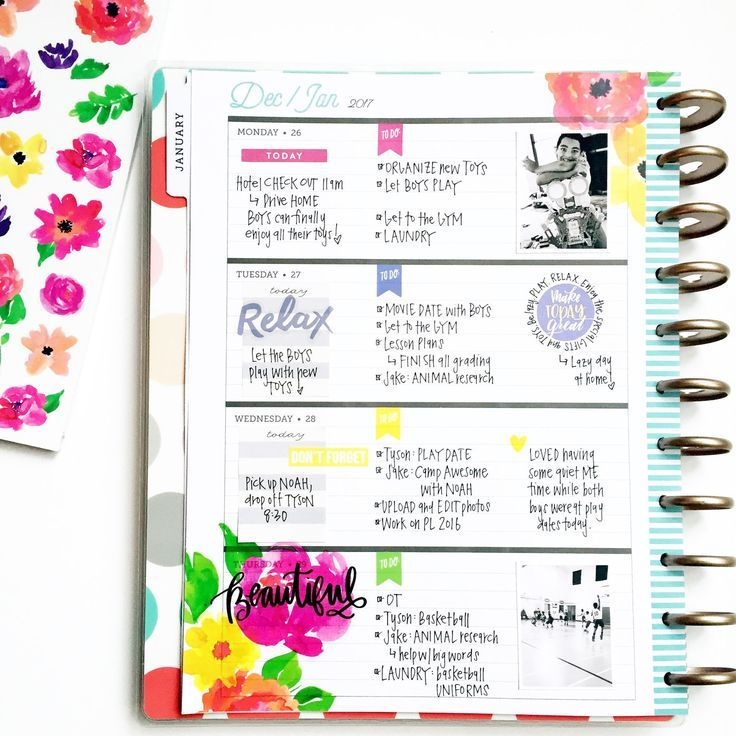 jumping in the BIG u0027Delightfulu0027 Rose Gold Horizontal Happy Planner - layout of an agenda