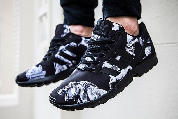adidas zx flux black and white pattern
