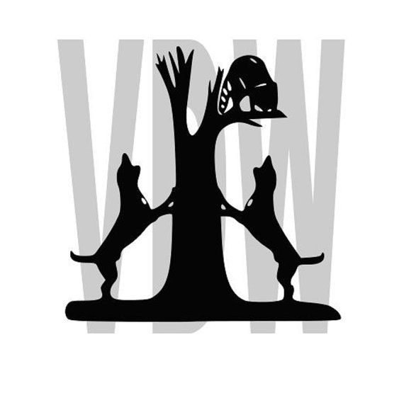 Coon Dogs Hunting Cutting Files Silhouette Svg Dxf And