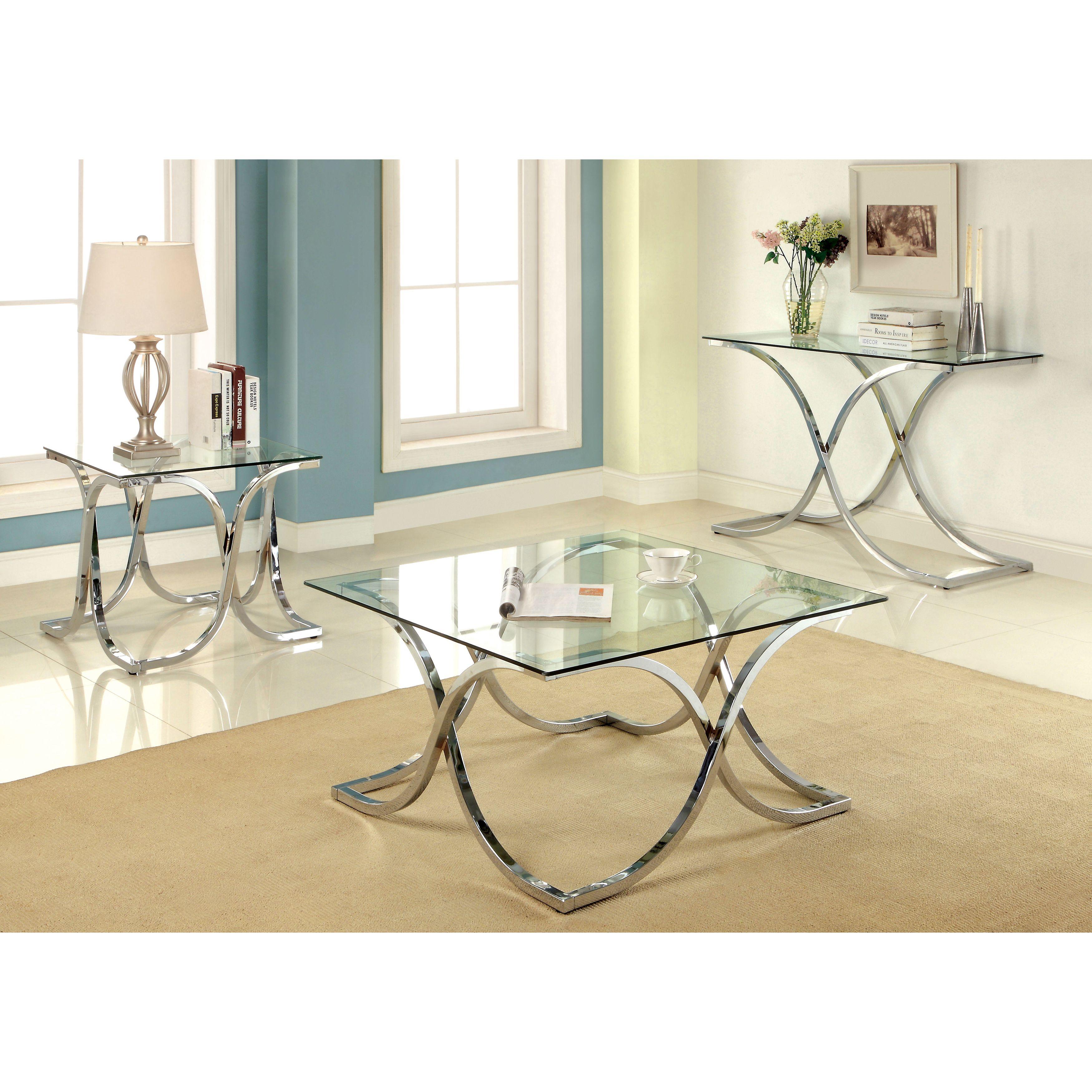 Furniture of America Artenia Modern 3-Piece Chrome Accent Table Set ...