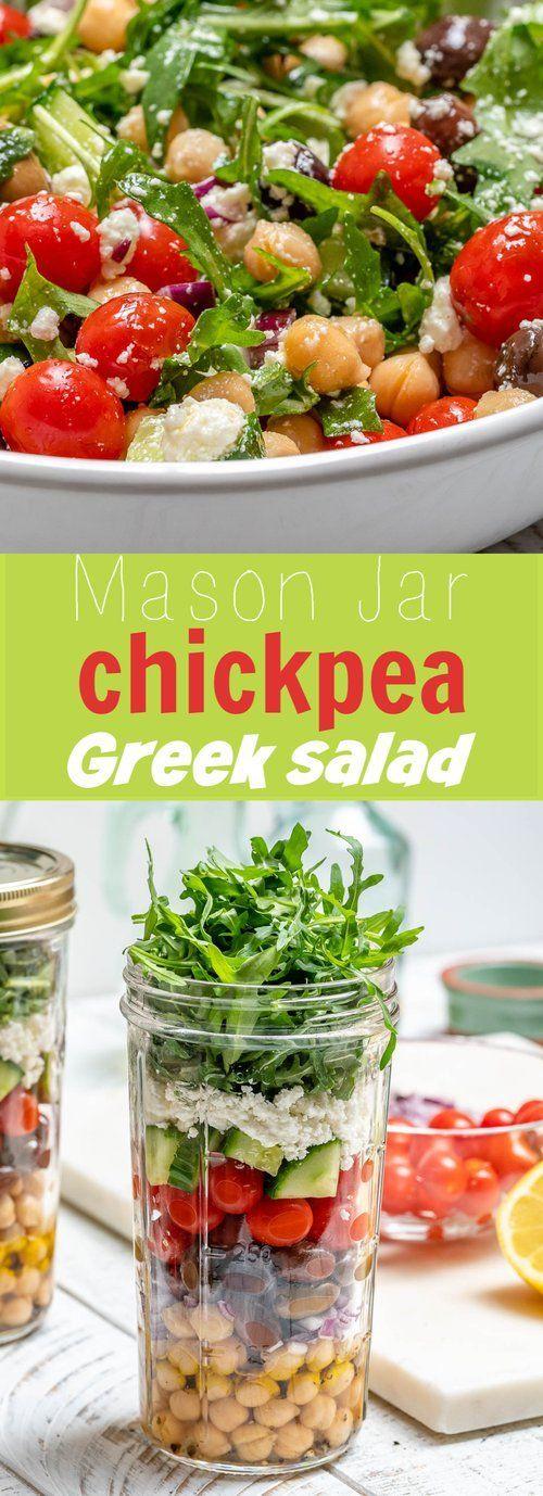 Mason Jar Chickpea Greek Salads Make Clean Eating Meal Prep Fun! -  Mason Jar Chickpea Greek Salads