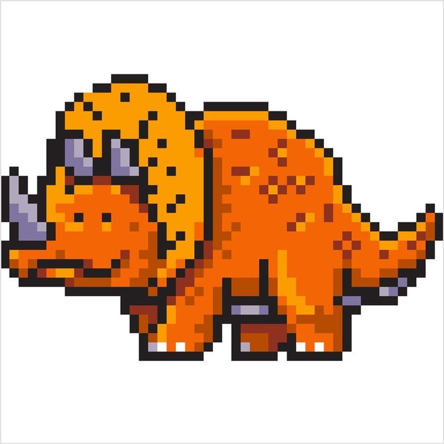 Coloriage Vrai Dinosaure.Coloriage Et Illustration D Un Triceratops Un Dinosaure En Pixel
