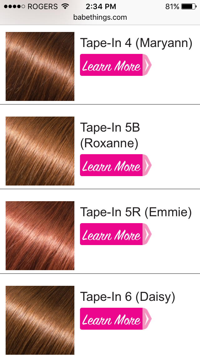 Babe Tape In Hair Colors