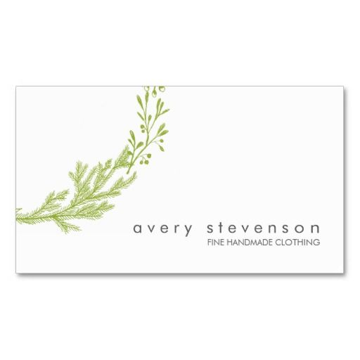 Simple green hand drawn wreath nature white 1 business card reheart Gallery