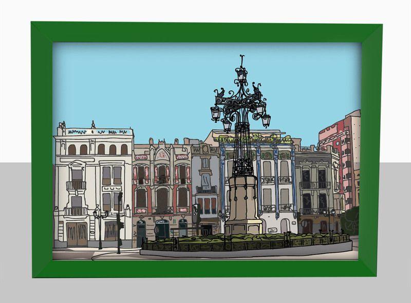 Plaza de la Farola - Castellón - 21x30 cm de tapaforats por DaWanda.com