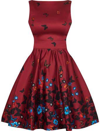 Wine Butterfly Border Tea Dress by Lady Vintage. Find this Pin and more on  Šaty do tanečních by alenaciepl. Šaty Lady V London 54f983d260